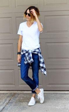 Weißes T-Shirt kombinieren: Look 44
