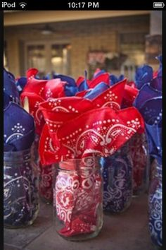 Country with a twist of Vintage - guest table decos - mason jars for drinks with napkins & utensils for guests Cowboy Theme Party, Cowboy Birthday Party, Farm Party, Birthday Parties, Western Party Decorations, Pirate Party, 50th Birthday, Barn Dance Decorations, Country Birthday