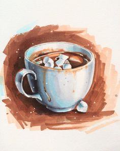 Extreme Sketching 2 mit Anna Rastorgueva – Kunst – Hot Chocalate - New Sites Art And Illustration, Food Illustrations, Watercolor Illustration, Watercolor Paintings, Watercolor Sketch, Marker Kunst, Marker Art, Art Vintage, Sketch Inspiration