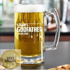 Personalized Godfather Gift, Beer Mug, Beer Glass Elegant Will You Be My Godfather Gift, Baptis Best Dad Gifts, Grandpa Gifts, Fathers Day Gifts, Godfather Gifts, The Godfather, Gifts For Brother, Gifts For Dad, Engraved Beer Glass, Glass Beer Mugs