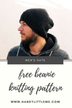 042f037cdc4 Knit an easy mens beanie hat with this free knitting pattern. Free Scarf  Knitting Patterns