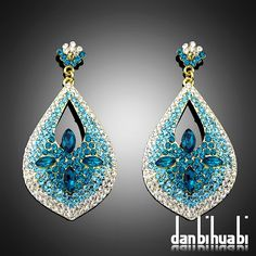 New clear blue crystal rhinestoneMs pendant earrings, high quality Drop earrings jewelry ---Bc038