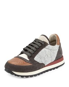 Pebbled Leather Cap-Toe Combo Sneaker, Biscotti by Brunello Cucinelli at Bergdorf Goodman.