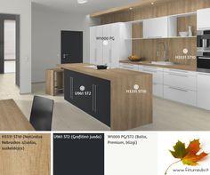 """Modernu ir šilta  Vis dar aktualus, madingas derinys juoda-balta dabar vis drąsiau derinamas su medžiagomis, dekorais, kurie padeda sukurti derinį: nauja - sena. Šaltos modernių baldų spalvos, elegantiškas ir prabangus derinys U961 ST2 (Grafitinė juoda) ir W1000 PG (Balta, Premium, blizgi) """"šildomos"""" pasirenkant šviesaus medžio dekoro stalviršį, pvz. H3331 ST10 (Natūralus Nebraskos ąžuolas, suskeldėjęs). Gamintojas: EGGER (Austrija) Modern. Cozy. Design. Combination. Furniture. Kitchen."""