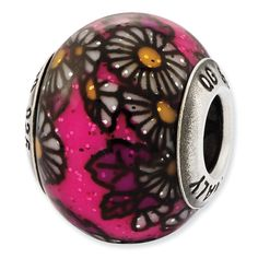 Reflections Italian Sterling Silver Pink /& Green Floral Overlay Bead 4mm Diameter Hole