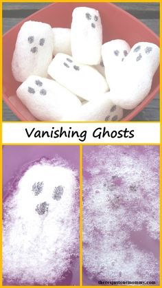 Vanishing Ghosts -- simple kids Halloween activity for kids (Halloween science experiment) halloween crafts for kids Halloween Science, Halloween Week, Halloween Activities For Kids, Autumn Activities, Easy Halloween, Halloween Themes, Halloween Crafts For Kindergarten, Halloween Kid Crafts, Halloween Celebration