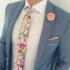 Love that @Suited_Man style including their wide selection of floral ties and lapel pins | Get them now at www.suitedman.com | Follow @suited_man #suitup @SuitedManStyle #floralties