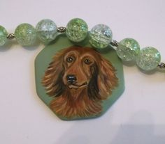 Long Hair Dachshund Dog Hand Painted Ceramic Pendant Beaded Necklace