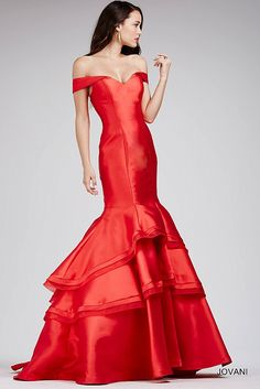 Red Fitted Off The Shoulder Prom Dress 31100