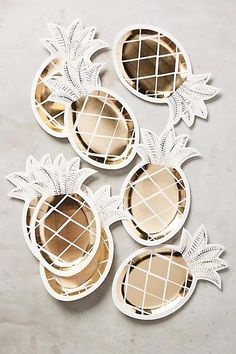 Gold and White Pineapple Party Plates