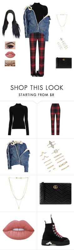 """""""Sik-k - young boy"""" by kyndraxsvt ❤ liked on Polyvore featuring Burberry, Y/Project, Forever 21, Vanessa Mooney, Gucci, Lime Crime and Off-White"""