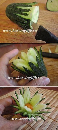 Цветок из огурца. Оригинальное украшение карвинг. | Карвинг и красивые рецепты
