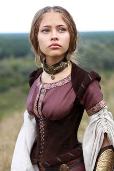"""Archeress"" Linen Dress, Chemise and Corset Set."