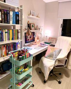 Room Design Bedroom, Room Ideas Bedroom, Home Room Design, Home Office Design, Diy Bedroom Decor, Home Decor, Study Room Decor, Cute Room Decor, Deco Cool