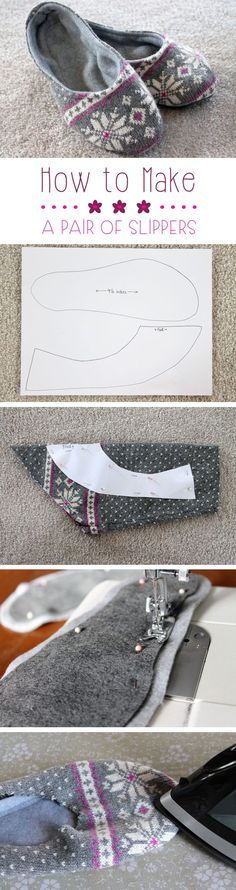Upcycling has quickly become on our favorites things to do! Transform an old sweater or sweatshirt into these lovely, cozy slippers for around the house...looks easy enough!