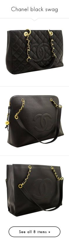 """""""Chanel black swag"""" by killasuki ❤ liked on Polyvore featuring bags, handbags, tote bags, black, totes, handbag tote, chanel handbags, chain strap purse, leather purses and faux leather purses"""