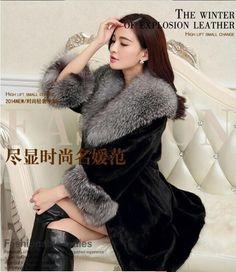 >> Click to Buy << Free Shipping Women'S Long Fox Fur Collar Jacket Casual Slim Mink Fur Coat Large Size Patchwork Femlae Winter Outwear Black J273 #Affiliate
