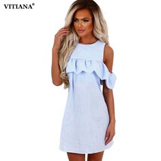 5de745eacc90 VITIANA 2017 Women Off Shoulder Ruffle Summer Dress Pink Blue Striped Casual  Short Clothing Robe Beach Sexy Dress Vestidos-in Dresses from Women's  Clothing ...
