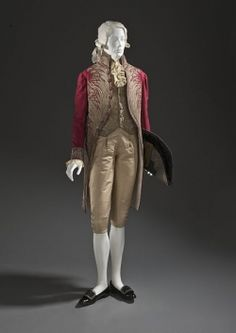 Court fashion ca. 1800. Red wool coat with cilver metallic thread and matching waistcoat. Photo: Los Angeles County Museum of Art