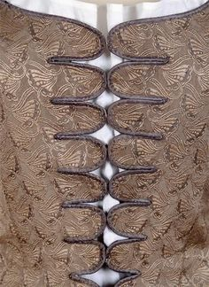 FIGURED SILK JUMPS French, mid-18th c. Made of silk, cotton or linen, jumps usually fastened at the front with ties, buttons or—as in this example—metal hooks. Antonia prefers to wear jumps for at-home wear. AUTUMN DUCHESS