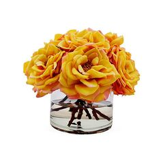 "11"" Bloomed Roses in Vase - Faux Arrangements (8.505 RUB) ❤ liked on Polyvore featuring home, home decor, floral decor, plants, decorative accessories, orange decorative accessories, pink home decor, flower home decor and rose home decor"