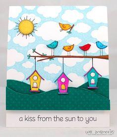 cute bird and birdhouse card - bjl