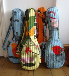 Quilted ukulele case soprano sized in yellow/green bird by IvyArch, £55.00