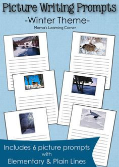 Winter Picture Writing Prompts - includes 6 picture writing prompts with plain and elementary lines