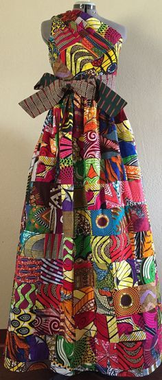 Magnificent Reversible Patchwork One Shoulder Maxi Dress Rock Two Looks in 1 African Wax Print Cotton Magnificent Reversible Patchwork One Shoulder Maxi by WithFlare African Fashion Designers, African Inspired Fashion, African Dresses For Women, African Print Dresses, African Print Fashion, Africa Fashion, African Attire, African Women, Fashion Prints