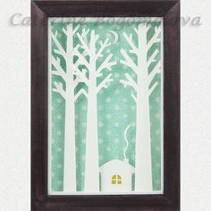 little house in the woods papercut