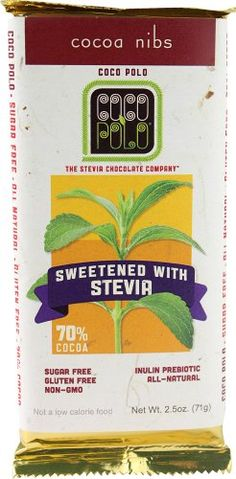 Coco Polo 70 Percent Sugar Free Cocoa Nibs Dark Chocolate Bar 25 Ounce  12 per case *** Click image for more details.