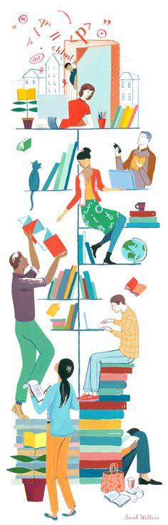 Sarah Wilkins illustration - the world of books