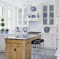 White Kitchen with Blue and White Accents