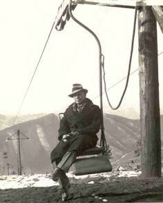 The world's first chair lift was constructed from banana plantation load conveyors, retro-fitted to carry people and installed above Sun Valley changing skiing forever. Sun Valley Idaho, Ski Posters, Ski Lift, Vintage Ski, Local Events, Snow Skiing, Dog Friends, Snowboarding, The Great Outdoors