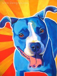 Colorful Pet Portrait Pit Bull Art Dog Print 8x10 by @dawgpainter