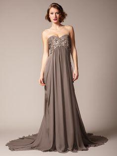 Marchesa Couture  Silk Crepe Embellished Chiffon Gown