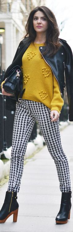 78fc13d748440a Houndstooth print leggings with a comfy mustard sweater topped with a bad  ass leather jacket and