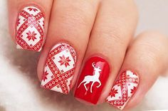Beautiful patterns on nails, Decorative nails, Fashion nails 2016, Nails ideas 2016, Red and white nails, Red nails ideas, ring finger nails, Russian nails