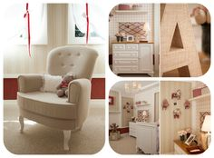 red, beige and white nursery