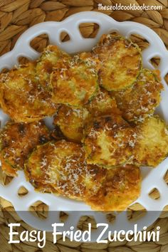 Easy Pan Fried Zucchini is a fast side dish to highlight this versatile vegetable. These zucchini coins are lightly breaded and pan fried until crispy, salty and delicious. Grate fresh Parmesan cheese over top, and serve! Fried Zucchini Recipes, Vegetable Recipes, Vegetarian Recipes, Cooking Recipes, Crockpot Recipes, Diet Recipes, Snack Recipes, Healthy Recipes, Fried Zucchini Chips