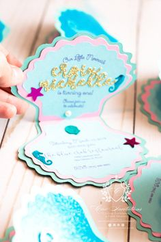 Mermaid Invitations Shell Little Mermaid Handmade Invitation