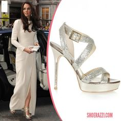 May 9, 2012 Kate Middleton was spotted wearing Jimmy Choo glitter Vamp platform sandals while arriving at the Thirty Club in London. - ShoeRazzi