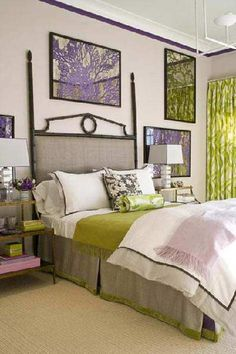 Purple & green accents with neutral walls.  Like the stripe at the ceiling.