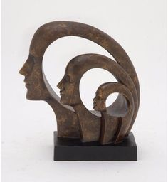 ATLIE Bronzes Antique Statue Abstract Human Face Thinking Bronze ...