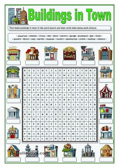 BUILDINGS IN TOWN - WORDSEARCH