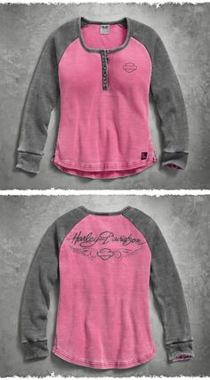 A simple yet powerful purpose – support those impacted by breast cancer. | Harley-Davidson Women's #PinkLabel Waffle Knit Henley