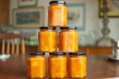 Peach and yellow tomato jam. It's a perfect way to combine two of the season's favorite fruits! From Food in Jars! Used for sweet and sour sauce substitute, dressing base, meat marinade, chips. Feedback was-i ate it by the spoonful from the jar. Jam Recipes, Canning Recipes, Salad Recipes, Tomato Jam, Tomato Preserves, Ginger Honey Lemon, Yellow Tomatoes, Roasted Root Vegetables, Low Acid Recipes