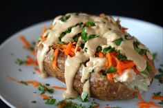 Thai Inspired Loaded Baked Potatoes with Homemade Peanut Sauce