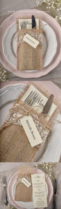 Rustic Country Wedding Menu Card with Burlap Holder #countreyweddingideas #lace…