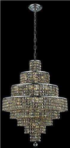 Maxim Golden Teak Crystal Chandelier w 18 Lights in Chrome - http://chandelierspot.com/maxim-golden-teak-crystal-chandelier-w-18-lights-in-chrome-523317816/